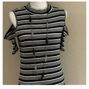 Cold shoulder black & white striped midi dress